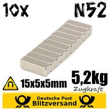 10x Neodym Magnet Quader 15x5x5mm N52 - Modellbau Geocaching starke Minimagnete