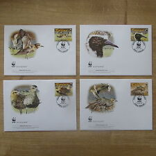 LOT TIMBRES 4 FDC WWF ANIMAUX OISEAUX TOKELAU  / WWF STAMPS FDC ANIMALS BIRDS