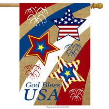 "God Bless USA Burlap House Flag Patriotic 28"" x 40"" Briarwood Lane"
