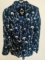 Cino Shirt Blouse Women's Blue/Yellow Floral Button Front XS Long Sleeve