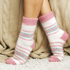 Women`s Wool Socks, Pink White Hand Knit in Russia