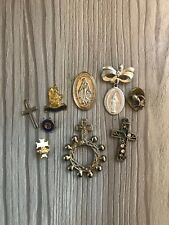 More details for vintage religious christian catholic brooch jewellery icons job lot rome