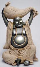 Laughing Buddha Statue, Sitting Holding Bag w Bat 22cm (Post or Local Pickup)
