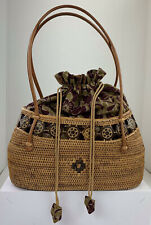 Rattan Structured Handbag with Fabric Lining Woven Inset Detail Leather Straps