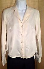 Women's KASPER PETITE Size 4P Ivory White Sheen Silky Dressy Career BLOUSE