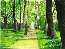 Pembroke Welsh Corgi Ryta Print Of Painting Landscape Alley Park Realism Trees