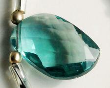 Eye Clean Blue Green Fluorite Faceted Mango Briolette Gemstone Bead