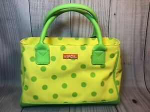 SACHI Insulated Lunchbox Tote Yellow/Green Polka Dot Zipper Close App 12x8 GUC