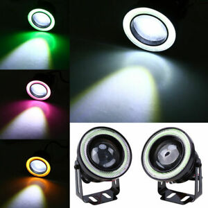 Pair DRL Projector Lens Angel Eye COB Halo Ring LED Fog Driving Light SUV Light