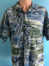 Men's RJC Hawaiian Shirt Made in Hawaii Floral Palm Trees Extra Large XL Cotton