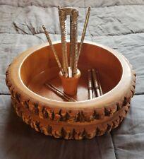 Vintage Wood Nut Cracker Bowl Set w/Picks Tree Log Bark Ellwood Rusticware