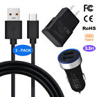 For Motorola Moto G6 Z3 Z2 Force E6 E6s Wall Car Charger USB-C Type C Cable Cord