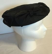 VINTAGE 50's 60's Black Woven Straw Bows Pillbox Hat Cap Size 22 1/2, Stunning!