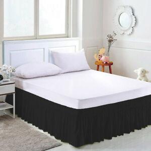 Elastic Bed Skirt 15Inch Height Bedspread Dust Ruffles Bed Cover Twin Full Queen