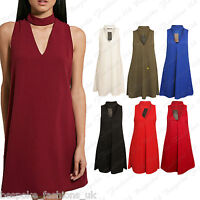 New Ladies Choker Neck Detail Loose Fit Sleeveless Casual Party Office Top Dress