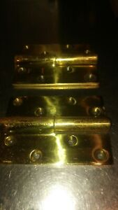"""Pair vintage realy heavy 5"""""""" Pollished  brass hinges lift of   1.4 kg  the pair"""