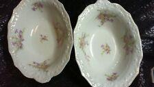 Vintage Limoges France Lavender Flowers Oval Vegetable Serving Bowl Set of Two