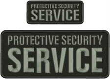 PROTECTIVE SECURITY SERVICE EMBROIDERY PATCH 4x10 & 2X5  hook on back/GRAY