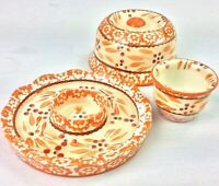 Temptations by Tara Orange Spice French Butter Keeper Hand Painted Old World