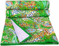 Green Bedspread Paisley Hand Block Quilt Coverlet Throw Bedding Blanket INDIAN