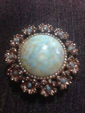 Stone Brooch - Silver Tone Metal Vintage Turquoise Coloured Agate & Paste