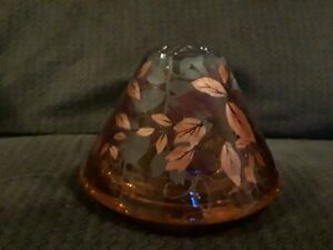 Yankee Candle Crackle Glass Shade Beautiful Gold Fall Leaves Stunning New