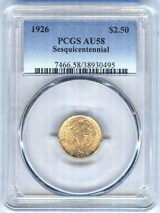 1926 $2.50 GOLD SESQUICENTENNIAL COMMEMORATIVE QUARTER EAGLE PCGS AU58