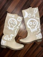 Boots STIEFEL 40 Echt Leder unikat designer witch magic totenkopf skull hexe psy