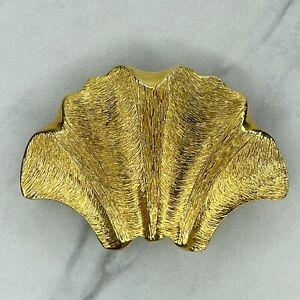 Clara for Calderon Gold Tone Vintage 1981 Seashell Clip Belt Buckle