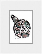 New matted art print KILLER WHALE OCRA - Coast Salish Cowichan artist JOE WILSON