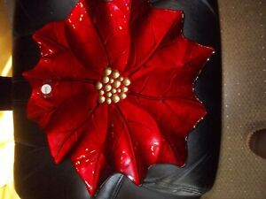 Arda Glassware  Plate Tray Poinsettia Flower Dark Red & Gold MADE IN TURKEY
