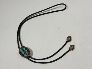 Vintage Bennett Bolo Tie Wood Slice w/ Turquoise Stone Inlay