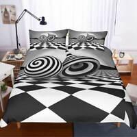 Black White Pieces 3D Quilt Duvet Doona Cover Set Single Double Queen King Print