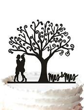 New wedding cake topper black Tree of Life Mrs & Mrs Lesbian gay
