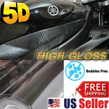 "High GLOSSY Premium 5D Carbon Vinyl Wrap Sticker Film Sheet BUBBLE FREE 72""x60"""
