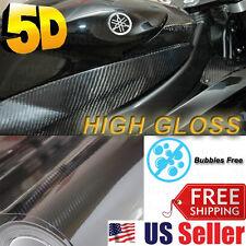 "High GLOSSY Premium 5D Carbon Vinyl Wrap Sticker Film Sheet BUBBLE FREE 72""x60"""