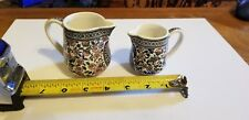 """2 Gien France Cachemire Paisley Tiny Creamers - Jugs Under 3"""" Tall"""
