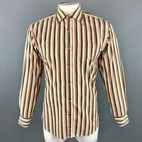 PAUL SMITH Size M Khaki & Brown Stripe Cotton Long Sleeve Shirt