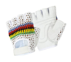 Half Finger Bus Driving Gloves Multicolour Crochet Fitness Leather Cycling Glove