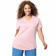 b1e3816971b Just My Size Women s Plus-size Short Sleeve V-neck Tee Paleo Pink 5x