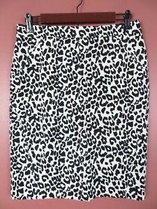 SK13923- ANN TAYLOR Womens 52% Cotton Pencil Skirt Black White Animal Print 6P