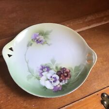 Vintage Rs Tillowitz Signed Painted Green with Purple & White Pansies Porcelain