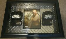 MMA UFC Brock Lesnar 27 x 19 Shadow Box with gloves & signed promo poster.