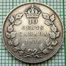 CANADA GEORGE V 1936 10 CENTS, SILVER