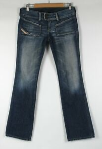 DIESEL Jeans Sz 28 Womens Distressed Low Rise Bootcut Faded Blue Rigid Denim