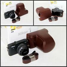 coffee Leather Case Bag to Nikon J1 J2 J3 camera w/ 10-30mm or 30-110mm lens
