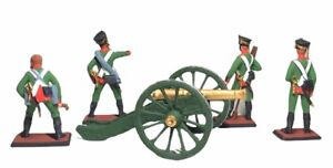 Set of soldiers statuette Russians with cannon tin miniature handmade painted