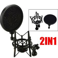 Support micro microphone à condensateur avec grand filtre anti-pop intégré noir