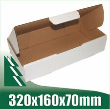 20 x Cardboard Boxes 320x160x70mm White Packaging Carton Mailing Box STRONG