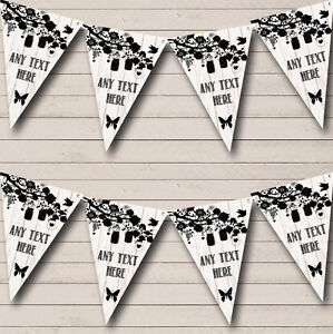 Shabby Chic Vintage Wood Black White Birthday Party Bunting Banner